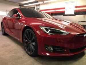 Red Tesla Detailed